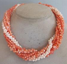 ❂ ►8 Stränge Korallen- Kette, Verschluss 14 Kt Gold, Diamanten, neu, ungetragen
