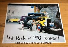 HOT ROD WITH FLAMES 1997 PPG PAINTS 18 X 24 POSTER STREET CAR CUSTOM AUTOMOBILIA
