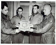 1945 Vintage Photo US Army Capt. receives award from 7th Army Gen. during WW2