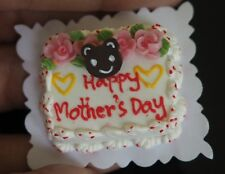 Dollhouse Miniatures Lovely Mother's Day Sheet Cake Food Supply Handmade Clay