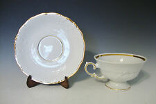Walbrzych Glory Pattern Polish China Footed Tea Cup and Saucer - White/Gilt