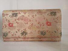 VTG 1960s KIMONO SILK CLUTCH Purse Bag M Yamamoto & Co Japanese Pink FLORAL