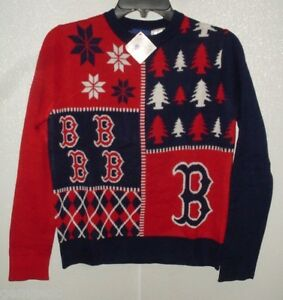MLB Boston Red Sox Busy Block Ugly Sweater Youth Size Youth Large by FOCO