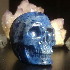 DUMORTIERITE CRYSTAL SKULL! Realistic Mineral Carving Quartz- RICH BLUE COLOR!