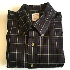 Brooks Brothers Button Front Shirt Men's Large Traditional 100% Cotton Checks