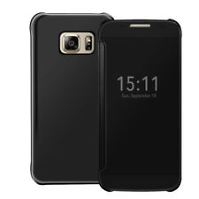 Mobile Phone Case Protective Cover Mirror Flip Clear View Case Pouch Shell Black Samsung Galaxy S7
