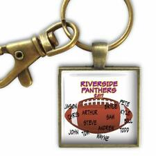 Personalized Team Autographed Football Glass Top Key Chain Coach Player Gift