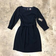 Vince Camuto Dress Sheath Navy Blue Long Sleeve Short Tied Bow 10 NWT