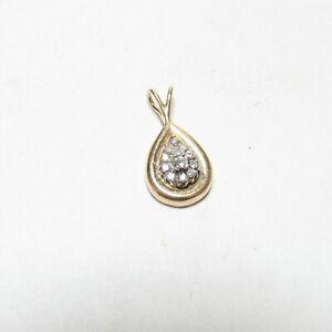 Estate 14K Yellow And White Gold 12 Round Brilliant Cut Diamond Pendant 0.20 Cts
