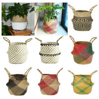 Seagrass Belly Baskets Flower Laundry Woven Storage Wicker Basket Bag Home Decor
