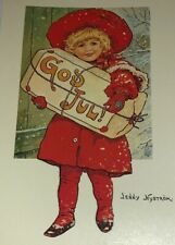 Jenny Nystrom Reproduction Holiday Postcard Little Girl Red Outfit Winter