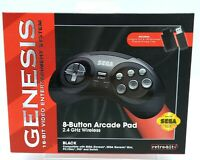 Retro-Bit 2.4 GHz Wireless Controller 8-Button Sega Genesis Original/Mini Black