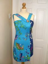 BNWT UK Size 10 EUR 36 H&M Versace STAMPA Silk Turquoise Asymmetric mini dress