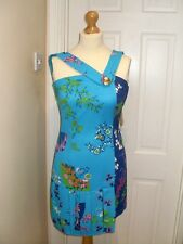 UK Size 10 EUR 36 H&M Versace STAMPA Silk Turquoise Asymmetric Mini Dress