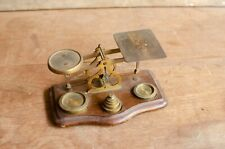 Antique Scale Wood base Brass and Wood scale With some Weights
