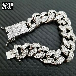 "Hip Hop Iced 19mm 8.5"" Heavy White Gold PT Brass Micro Pave Stone Bling Bracelet"