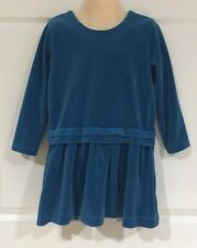 Hanna Andersson Girls Velour Dress Blue With Pleated Skirt Long Sleeve Size 110