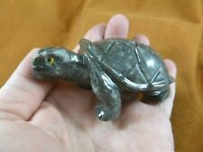 (Y-Tur-La-401) Large gray white Tortoise Turtle gemstone carving Soapstone Peru