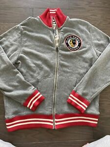 Mitchell Ness Chicago Blackhawks Gray Tailored Fit Track Jacket Vintage 2XL XXL