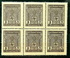 1939 / 1945 WW2 REAL 3rd REICH GERMANY OFFICIAL BLOCK OF 6 STAMPS GG 3 zl