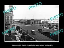 OLD LARGE HISTORIC PHOTO OF KINGSTOWN DUBLIN IRELAND, THE RAILWAY STATION c1910