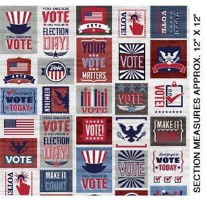 Your Vote Counts Fabric   Benartex Patriotic Go Vote Patch Red Gray Blue   Yard