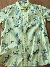Hang Ten Mens M Tiki God Yellow Hawaiian Shirt Dancing Surfer Camp Short Sleeve