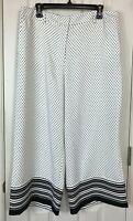 New Ann Taylor Factory The Drapey Wide Leg Crop Pants 12 White Black Polka Dots