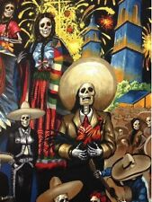 AH01 Fiesta San Marcos Day of the Dead Mexico Skeleton Cotton Quilt Fabric