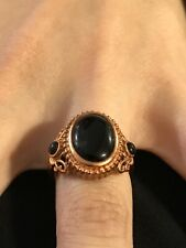 Black Onyx Oval & Round Cabochon Copper Ring Size 8