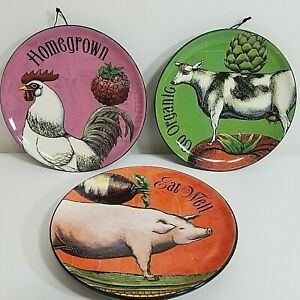 MEGAN HALSEY Farm Fresh Style Hanging Plates Demdaco Cow Pig Rooster Homegrown