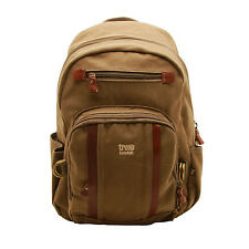 Troop London - Brown Canvas Medium Classic Rucksack/Backpack with Leather Trim