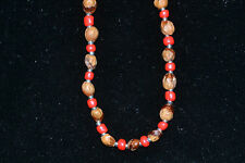 "32"" Red/Silver Navajo Ghost/Cedar Beads Necklace Juniper Berry by L. Bitsoie."