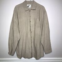 Flax Size M Linen Lagenlook Oversized Long Sleeve Button Down Tunic Top In Beige