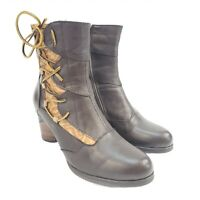 Spring Step L'Artiste Mia Womens Ankle Boots US 8 EU 38 Brown Leather Heel Zip