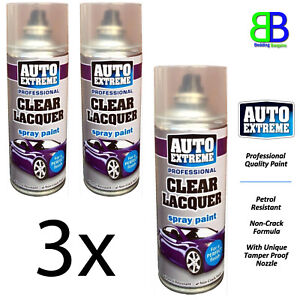 3x Auto Extreme Clear Lacquer Gloss Spray Paint Aerosol Can Metal Wood New 400ml