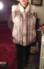 VINCENTS WHITE FOX WOMEN FUR JACKET SZ12/ L AMAZING EXCELLENT COAT SILVER ARCTIC