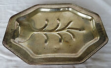 """Vintage English Metal Silver Plated Footed Tree Serving Tray 16x11"""""""