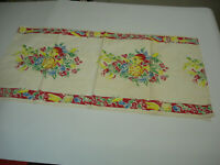Vintage Table Runner 1950's Fruit Corn Peppers Radishes 32 inches by 16 3/4 inch