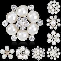 Vintage Gold Flower BROOCH Pin Crystal Rhinestone Bridal Pearl Broach Wedding US