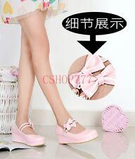 New Womens Fashion Mary Janes Lolita Bowknot Wedge Heel Platform Pumps Shoes
