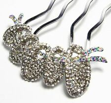 LOVELY CLEAR AUSTRIAN RHINESTONE CRYSTAL HAIRPIN HAIR COMB STICK FORK BUN C1176C