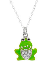 CHATEAU D'ARGENT Cute frog Necklace W/CZ & Green Enamel in 925 Sterling silver