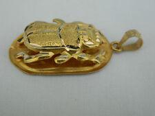 "Egyptian Scarab 18K Yellow Gold Pendant Diamond Cut Hieroglyphic 1.25"" #44"