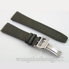 22mm Mixed Olives green fabric Leather deployment buckle Strap watch 045