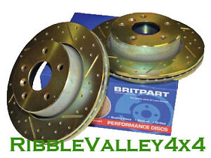 LAND ROVER FREELANDER FRONT BRAKE DISCS DRILLED AND GROOVED PERFORMANCE 2001-06