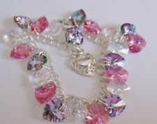Heart Charm Bracelet Made with Swarovski Vitrail Pink & Solid Sterling Silver