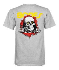 Powell Peralta Bones Skate T-Shirt, Old School Shirt, Grey, Ripper T-Shirt, (L)