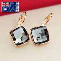 New 18K Rose Gold GF Fashion Square Hoop Huggie Earrings With SWAROVSKI CRYSTAL