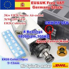 3KW 220V Square Air Cooled Spindle Motor Milling+3KW HY VFD 220V+ER20 Collet【ES】
